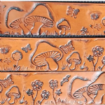 "Toadstools and Butterflies Embossed Full Grain Leather Belt . 1½"" (38mm) Wide. Code EM029"
